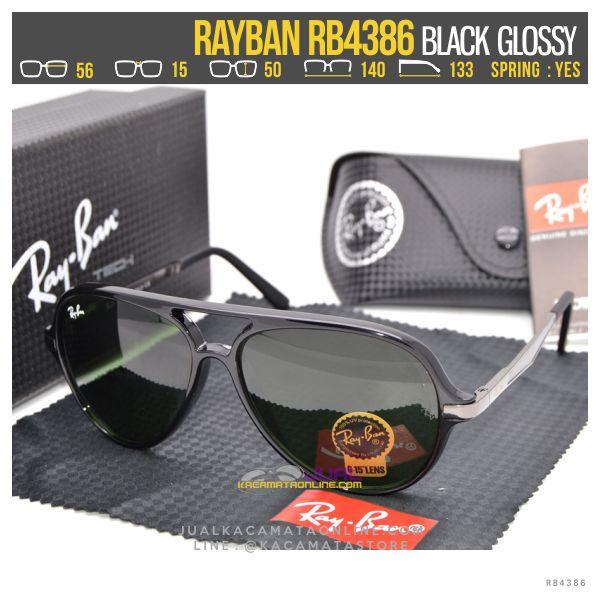 Gambar Kacamata Retro Rayban Rb4386 Black Glossy
