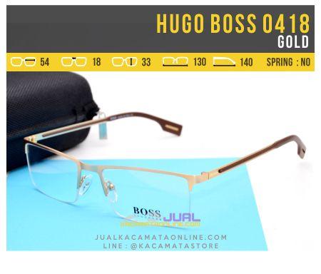 Model Kacamata Minus Pria Terbaru Hugo Boss 0418 Gold