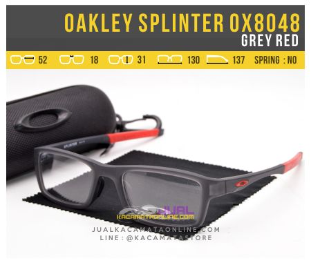Gambar Kacamata Minus Pria Oakley Splinter OX8048 Grey Red