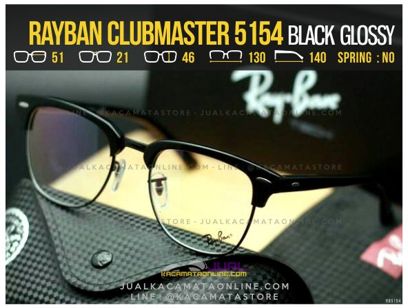 Gambar Kacamata Retro Rayban Clubmaster RB5154 Black Glossy