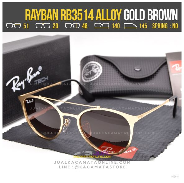 Model Kacamata Rayban RB3514 Alloy Gold Brown