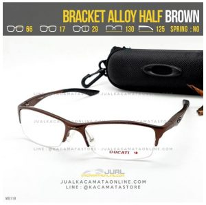 Model Frame Kacamata Minus Oakley Bracket Alloy Half Brown