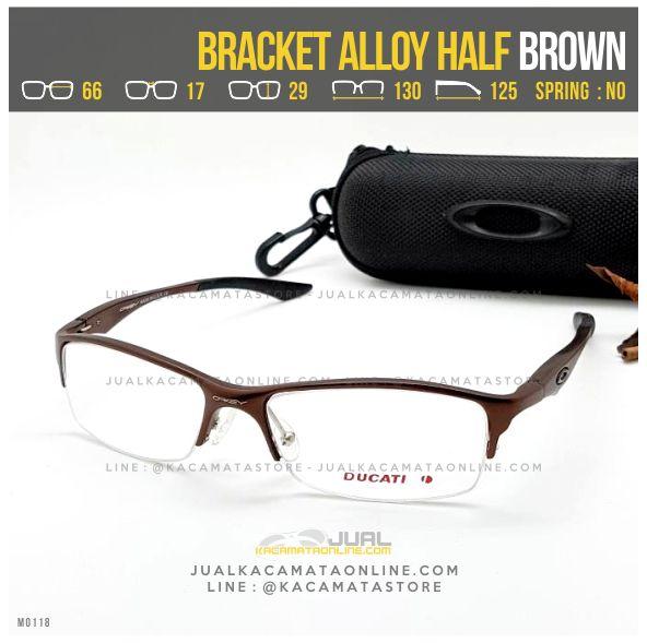 Model Frame Kacamata Minus Oakley Bracket Alloy Half Brown