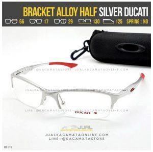 Model Frame Kacamata Pria Oakley Bracket Alloy Half Silver Ducati