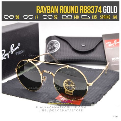 gambar Kacamata Bulat Rayban RB8374 Gold Black