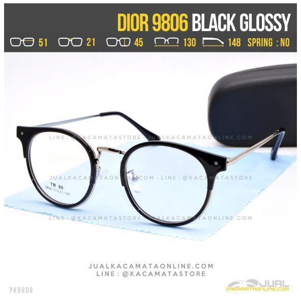 Model Kacamata Minus Bulat Dior 9806 Black Glossy