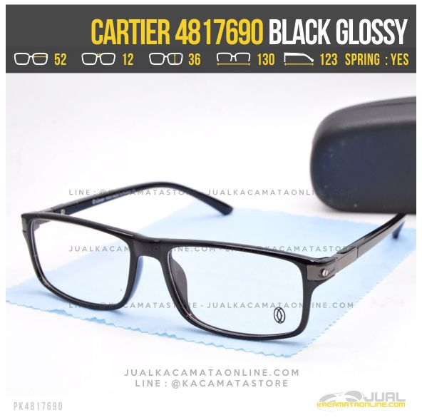 Jual Frame Kacamata Baca Cartier 4817690 Black Glossy
