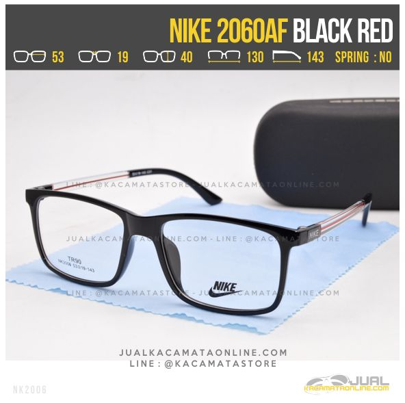 Jual Kacamata Kotak Nike 2060AF Black Red