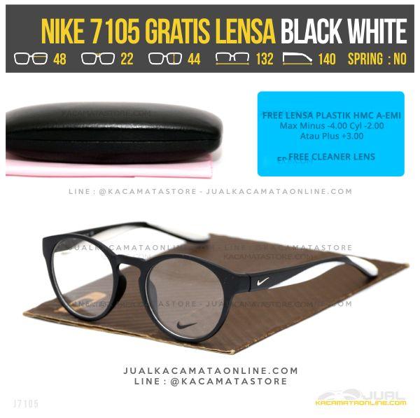 Harga Termurah Kacamata Minus Gratis Lensa Nike 7105 Black White
