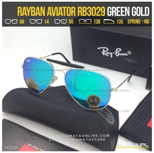 Kacamata Rayban Pilot RB3029 Green Gold