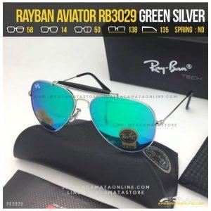 Kacamata Rayban Pilot RB3029 Green Silver