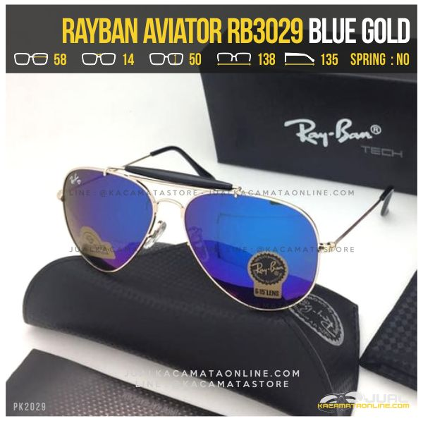 Kacamata Rayban Pilot RB3029 Blue Gold